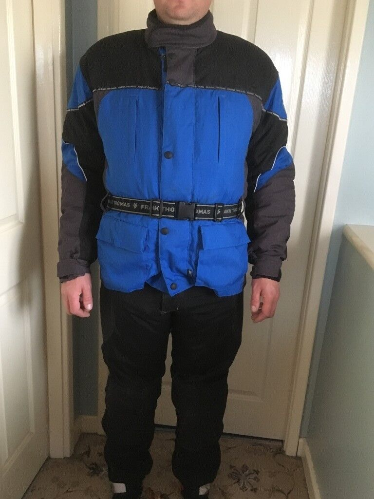 Frank Thomas Aqua Motorcycle Suit. Size M. Waterproof. Lined. Padded. Good Condition