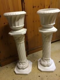 PAIR OF WHITE GLOSSY CERAMIC PLANT STANDS