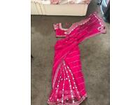 Pink saree with diamond work