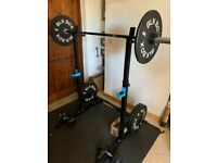 Home Gym - Barbell (Belfast Bar), plates, dumbbell, collars and squat rack