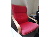 IKEA Armchair with Red Cushion