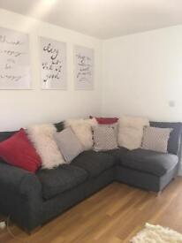 Grey corner sofa and arm chair