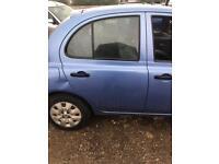 Nissan MICRA k12 blue driver rear door