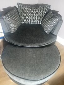 Dfs swivel chair and half moon footstool