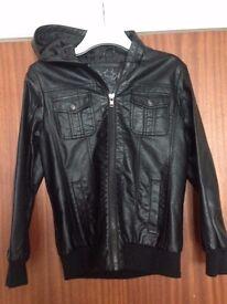 Boys age 11-12 black leather hooded bomber jacket