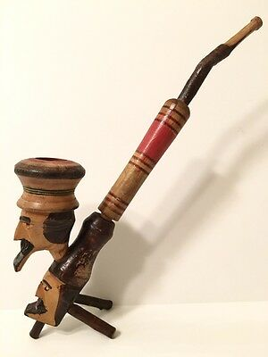 Vintage Italian Handmade, Double Head Woodcarved Pipe - 11  - $17.99