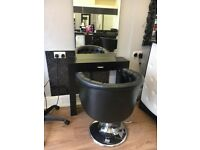 only 1yr old, desk, 4chairs, 4mirrored units, 6glass unit, 1basin 6chairs, 3lockable trollies