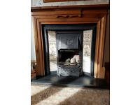 Stovax F40 Reproduction Victorian Cast Iron Tiled Fireplace with convector box and wooden surround