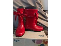 Girls red igor wellies
