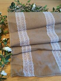 6x burlap and lace table runners.