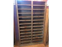 Gray colangular metal industrial shelving unit