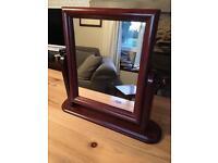 Dark Wood Dressing Table Free Standing Mirror