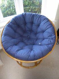 Papasan Chair with Dark Blue Cushion