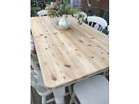 Shabby chic / solid pine table plus 8 chairs