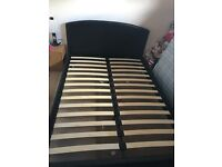 Chocolate Brown Leather Double Bed Frame