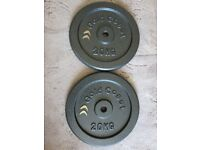 GOLD COAST 20KG CAST IRON WEIGHT PLATES X2