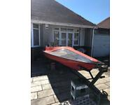 14ft fibreglass speedboat hull and trailer