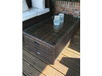 Brand new Rattan coffee table with integrated stools
