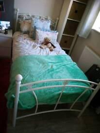 Single bed frame white metal floral vgc