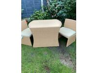 Rattan outdoor table & 2 chairs