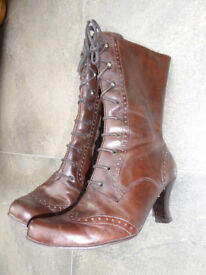 Brown Mid Calf Leather Boot Size 3