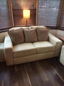 Cream leather 2 seater sofa x 2