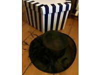 Fab Black Hat, Ideal For Wedding. 37cm diameter, £5 Collection Only Please