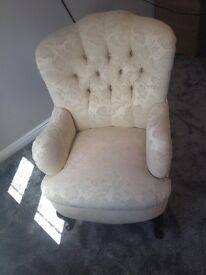 Cream Wingback Chair, Button Back, Very Good Condition.