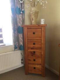 Wooden corner TV and DVD stand. Chest of drawers. Side table with drawers. Corner shelves.