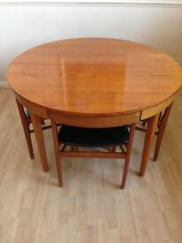 Mid century Danish extendable dining table and chairs