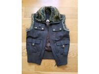 JL Leather waistcoat with fur collar small