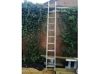 aluminum ladder 9ft long extends to 16ft in good condition