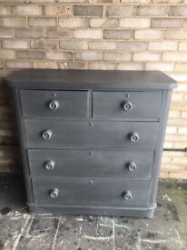 CHEST OF 5 DRAWERS CHEST EDWARDIAN MAHOGANY PAINTED GREY CREAM