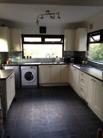 Ivory shaker style fitted kitchen, worktop & appliances