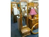 Pine Swivel full-length mirror with drawer #27781£40