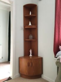 G plan teak corner display unit with base cupboard