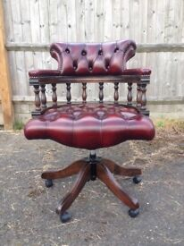 Red leather chesterfield captains chair / office chair