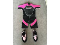 Wetsuit suits girl aged 6 to 7 years old.
