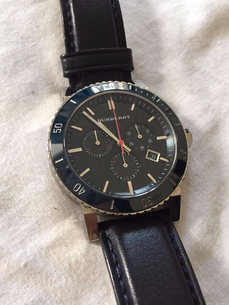 Men's Burberry Watch - BU9383 Navy Leather Great Condition