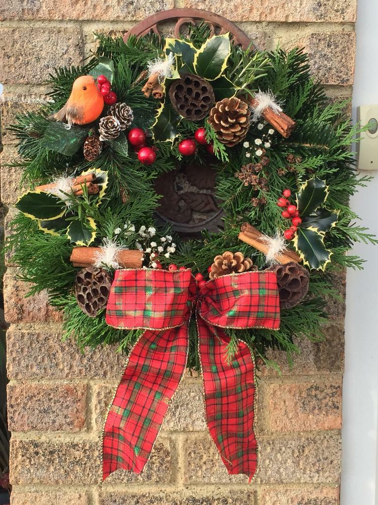 Christmas wreaths and table decorations