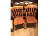 2 x Wooden Chairs - Older Style Pine -