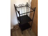Black Bathroom Shelving Unit. Comes with Two shelves and Square Glass top.