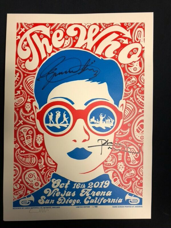 The Who-Moving On Tour Risograph Signed by Daltrey & Townshend, Bag, Guitar pics