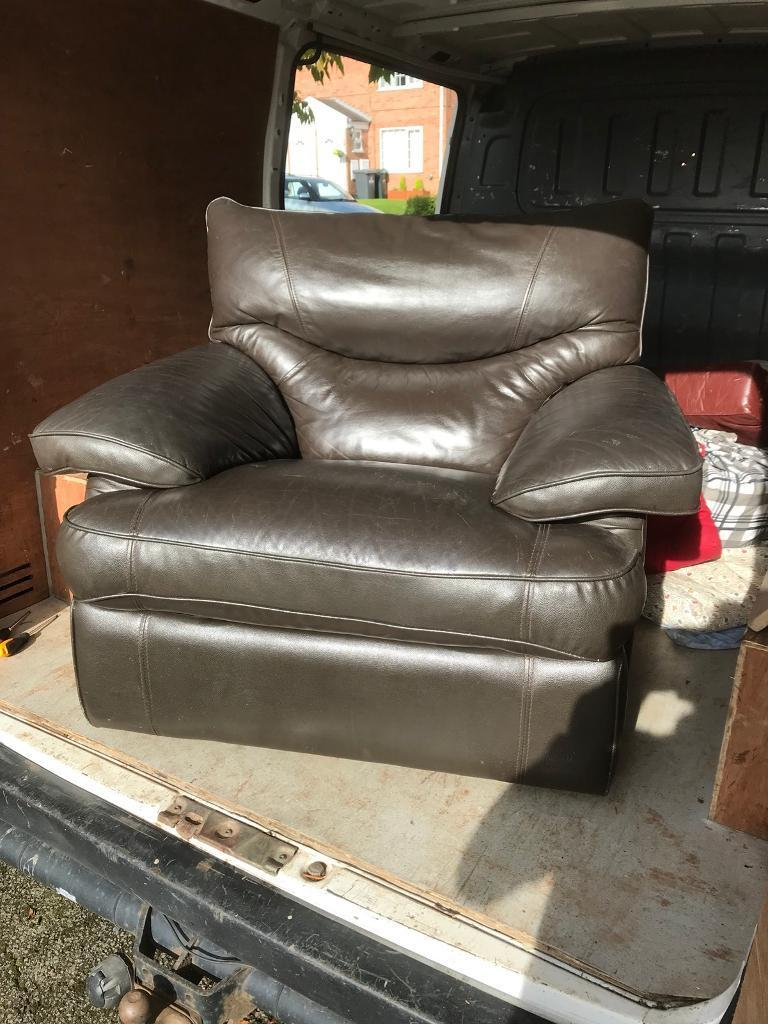 brown leather manual reclining chair