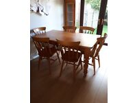 Pine Table and Six Chairs for Sale