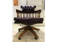 Vintage Leather Captain Chesterfield Chair Norway Ring Mekanikk