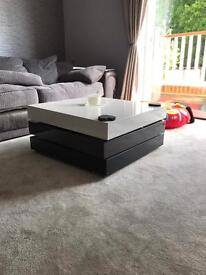 Grey and white gloss coffee table with storage