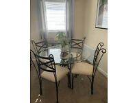 Wrought iron frame, Dining table with 4 chairs and matching console table
