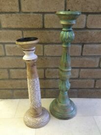 Shabby chic vintage style wooden candle sticks