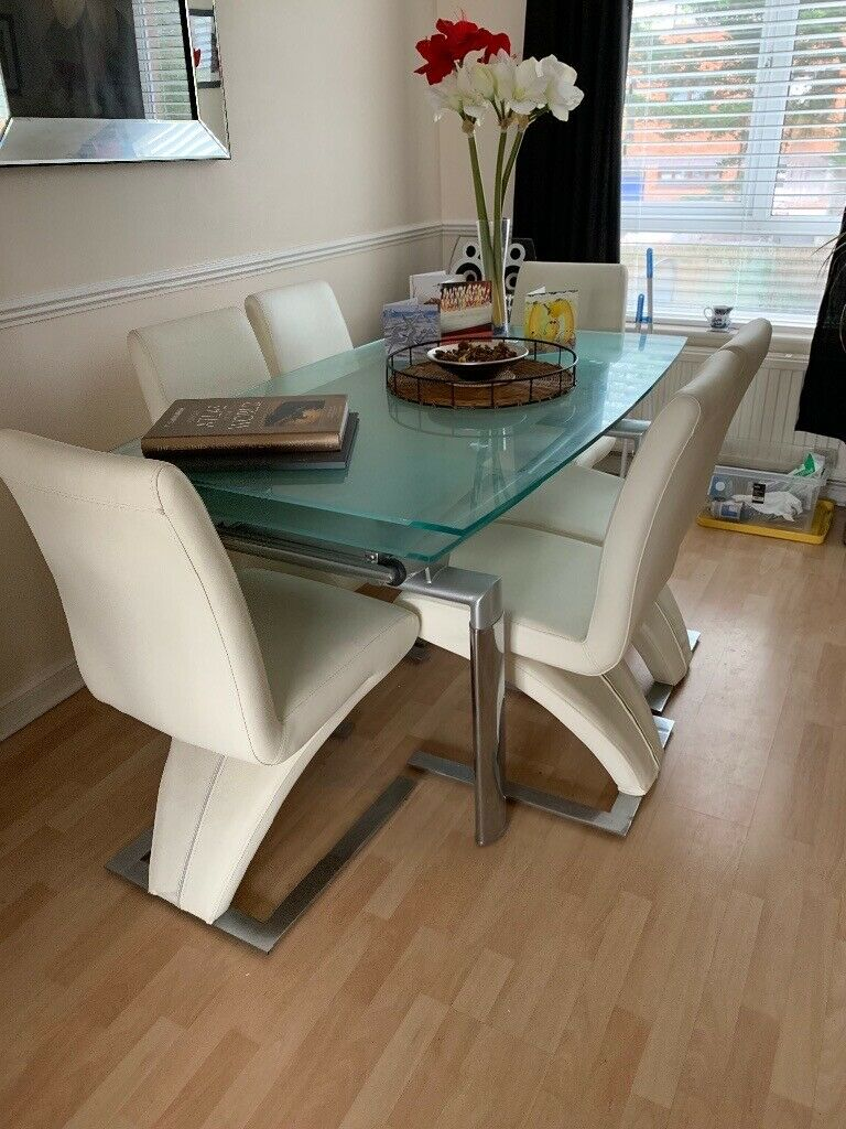 modern extendable glass dining table with 6 chairs  can